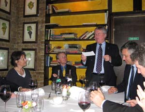 The Master addresses diners at the Bleeding Heart