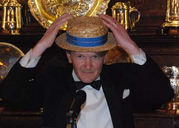 Murray Craig dons an appropriate straw hat
