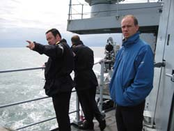 Lt Cdr McGlory (left), Andy Fish (right)
