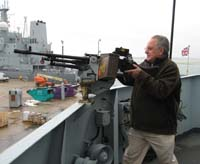 Stephen Leslie prepares to repel boarders at Portsmouth