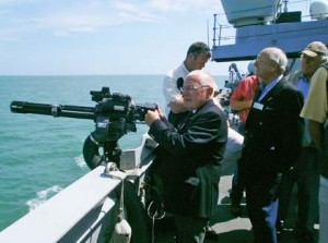 Liveryman Terry Harragan mans the minigun