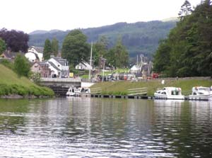 Looking up the lock ladder at Fort Augustus