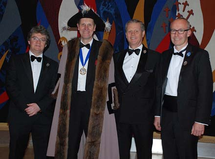 At the Spring Dinner, Master Peter Simeons with new Liverymen Stephen Jones, Graeme Gordon and René Kalt
